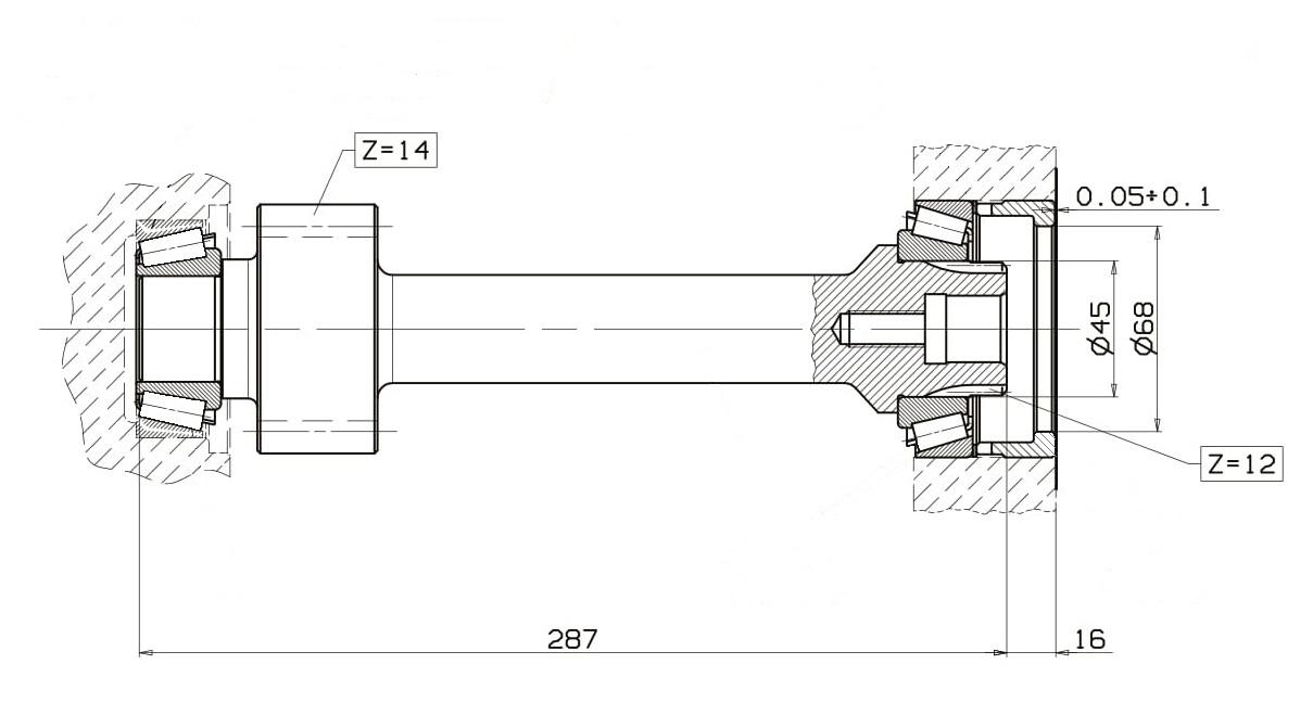 Вал отбора мощности СТОТОН ВОМ ZF 9S-109-1110-1310, 16S-109 чертеж